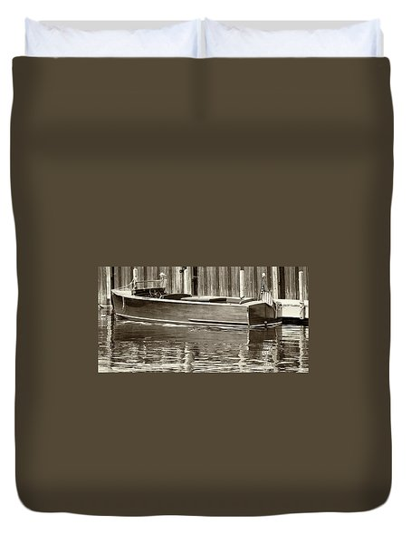 Antique Wooden Boat By Dock Sepia Tone 1302tn Duvet Cover