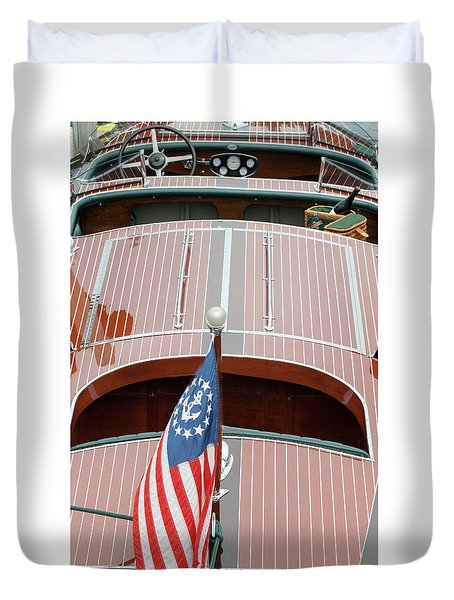 Antique Wooden Boat With Flag 1303 Duvet Cover