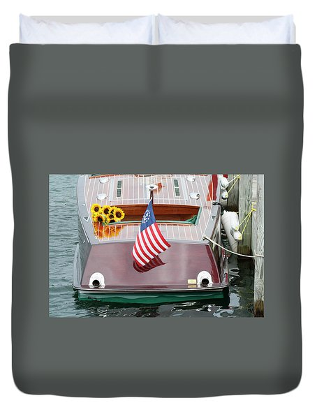 Antique Wooden Boat With Flag And Flowers 1304 Duvet Cover