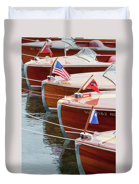 Antique Wooden Boats In A Row Portrait 1301 Duvet Cover