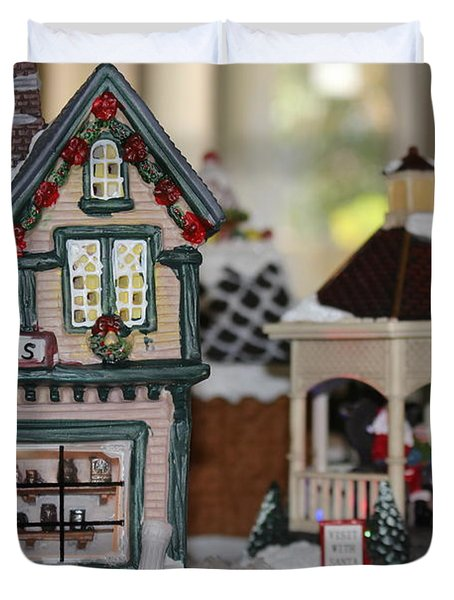 Antiques In Christmas Town Duvet Cover