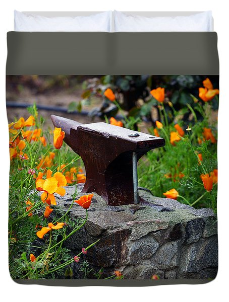 Anvil In The Poppies Duvet Cover