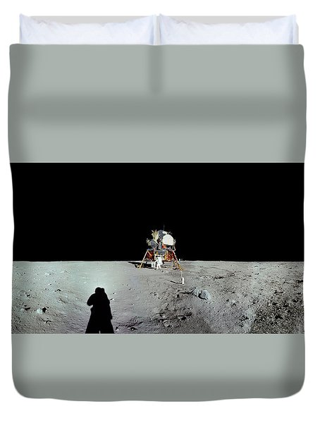 Apollo 11 Panorama Of The First Men Duvet Cover