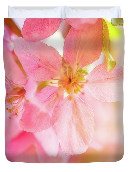 Apple Blossoms Bright Glow Duvet Cover
