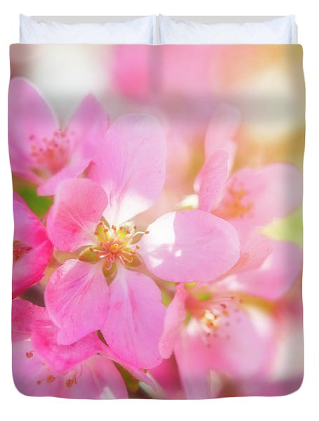Apple Blossoms Cheerful Glow Duvet Cover
