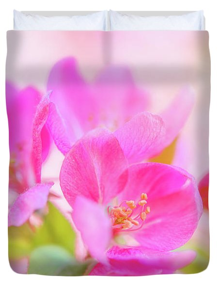 Apple Blossoms Colorful Glow Duvet Cover