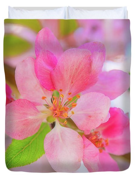 Apple Blossoms Red And Blue Duvet Cover
