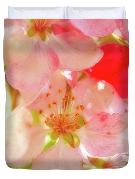 Apple Blossoms Textures Duvet Cover