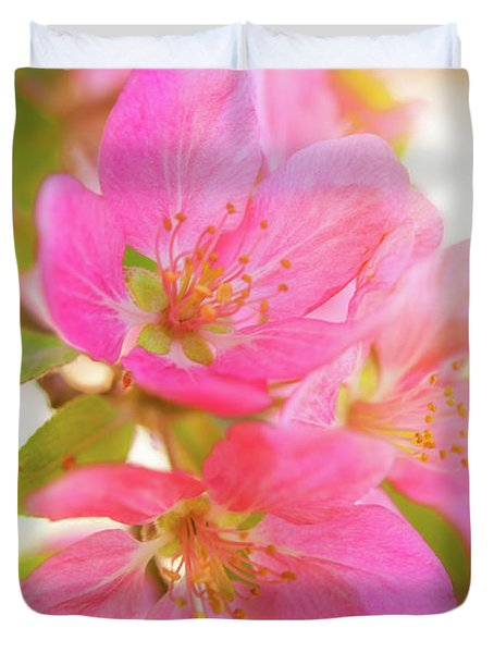 Apple Blossoms Warm Glow Duvet Cover