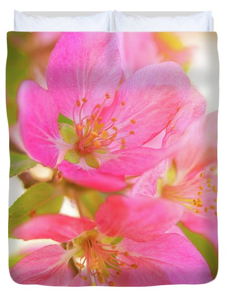 Apple Blossoms Warm Glow Duvet Cover