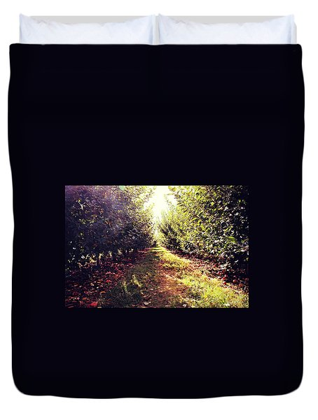 Duvet Cover featuring the photograph Apple Orchard by Candice Trimble