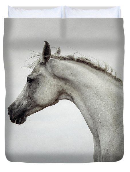 Duvet Cover featuring the photograph Arabian Horse Portrait by Dimitar Hristov