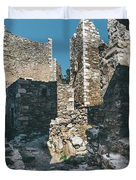 Architecture Of Old Vathia Settlement Duvet Cover