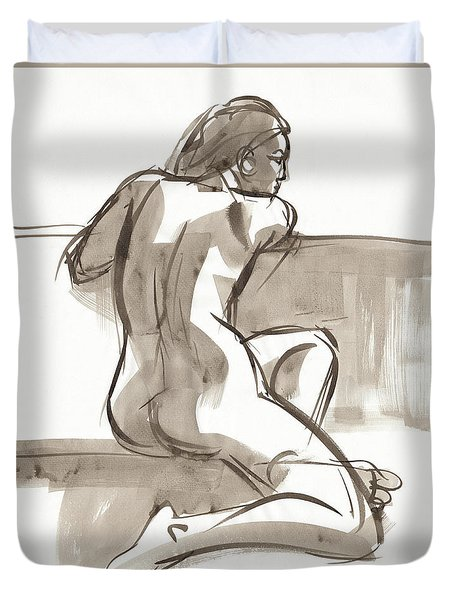 Duvet Cover featuring the painting Ariana by Judith Kunzle