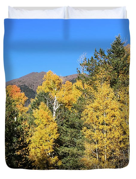 Arizona Aspens With Mountains Duvet Cover