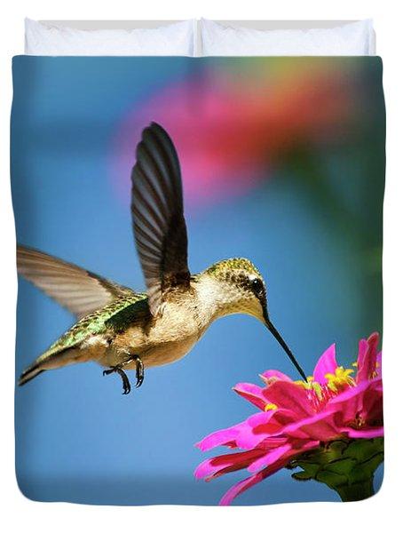 Art Of Hummingbird Flight Duvet Cover