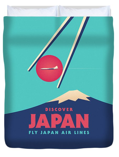 Retro Japan Mt Fuji Tourism - Cyan Duvet Cover