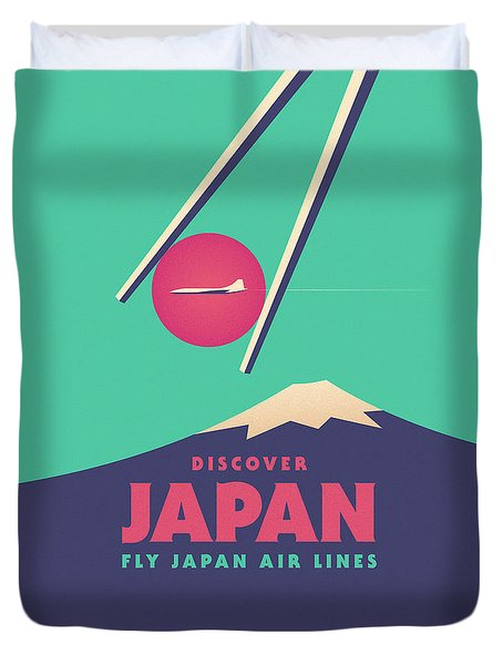 Retro Japan Mt Fuji Tourism - Green Duvet Cover