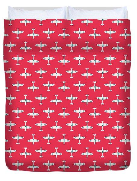 Supermarine Spitfire Fighter Plane - Crimson Duvet Cover