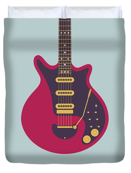 Red Special Guitar - Grey Duvet Cover