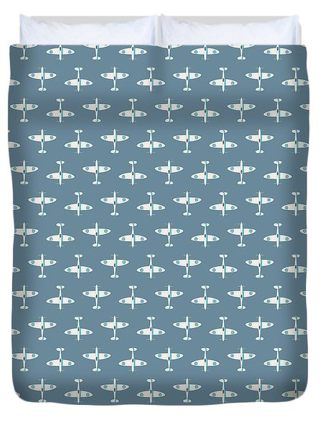 Supermarine Spitfire Wwii Fighter Aircraft - Slate Duvet Cover