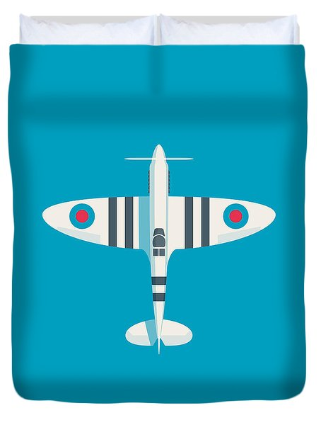 Supermarine Spitfire Fighter Aircraft - Stripe Blue Duvet Cover