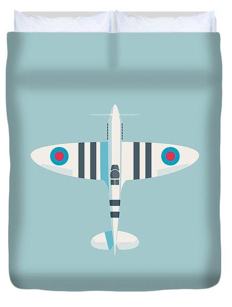 Supermarine Spitfire Fighter Aircraft - Stripe Sky Duvet Cover