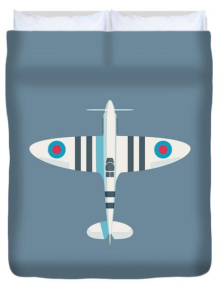 Supermarine Spitfire Fighter Aircraft - Stripe Slate Duvet Cover