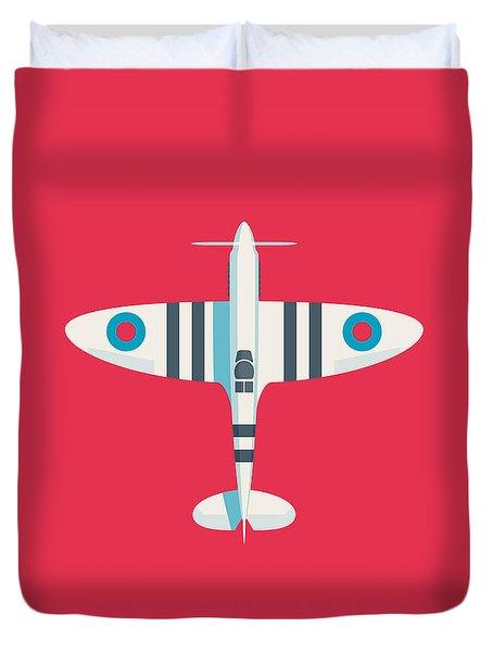 Supermarine Spitfire Fighter Aircraft - Stripe Crimson Duvet Cover