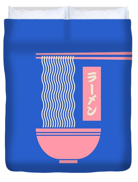 Ramen Japanese Food Noodle Bowl Chopsticks - Blue Duvet Cover