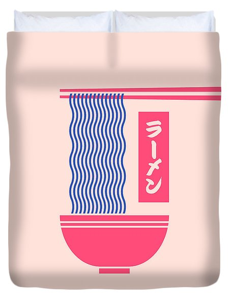 Ramen Japanese Food Noodle Bowl Chopsticks - Salmon Duvet Cover
