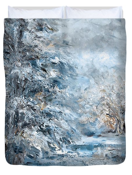 In The Snowy Silence Duvet Cover
