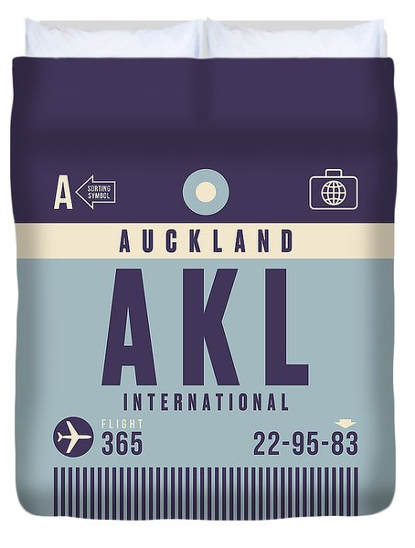 Retro Airline Luggage Tag - Akl Auckland Duvet Cover