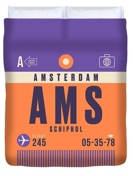Retro Airline Luggage Tag - Ams Amsterdam Schiphol Duvet Cover
