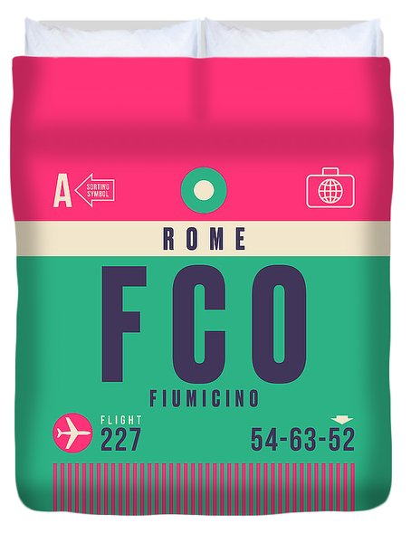 Retro Airline Luggage Tag - Fco Rome Fiumicino Duvet Cover