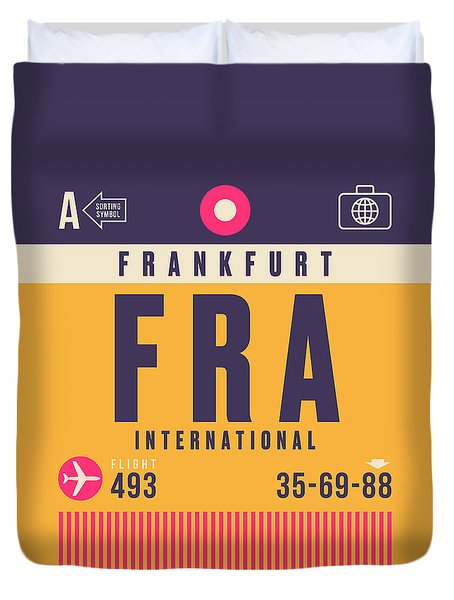 Retro Airline Luggage Tag - Fra Frankfurt Duvet Cover