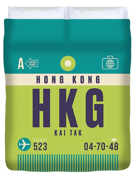Retro Airline Luggage Tag - Hkg Hong Kong Kai Tak Duvet Cover