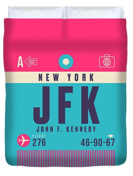 Retro Airline Luggage Tag - Jfk New York John F. Kennedy Duvet Cover