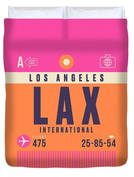 Retro Airline Luggage Tag - Lax Los Angeles Duvet Cover