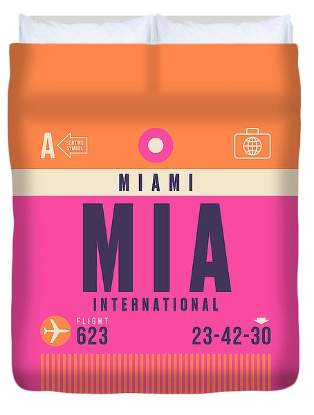 Retro Airline Luggage Tag - Mia Miami Duvet Cover
