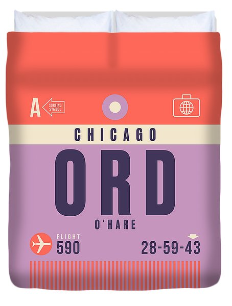 Retro Airline Luggage Tag - Ord Chicago O'hare Duvet Cover