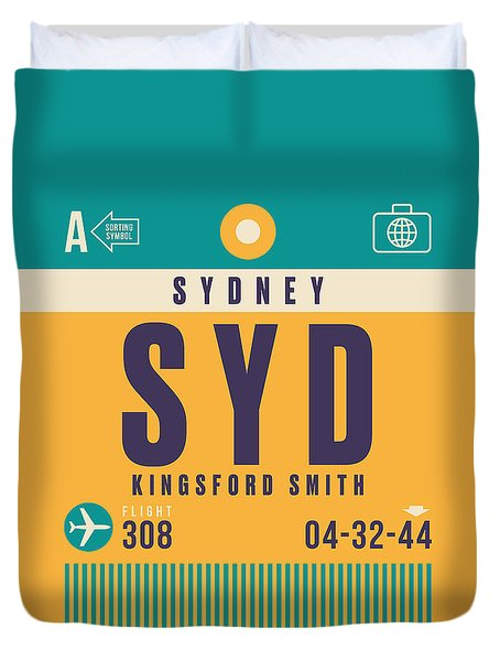 Retro Airline Luggage Tag - Syd Sydney Kingsford Smith Duvet Cover