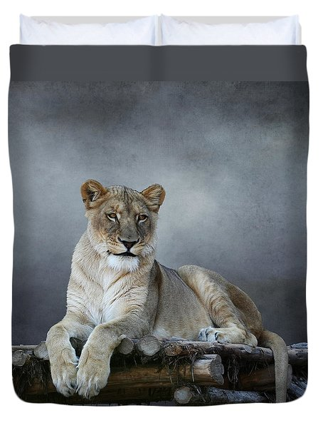 Duvet Cover featuring the photograph Happy Lioness by Debi Dalio