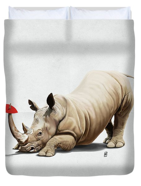 Duvet Cover featuring the digital art Horny Wordless by Rob Snow