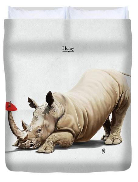 Duvet Cover featuring the digital art Horny by Rob Snow
