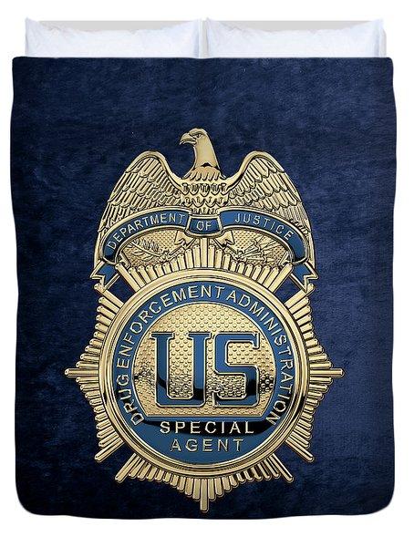 Drug Enforcement Administration -  D E A  Special Agent Badge Over Blue Velvet Duvet Cover
