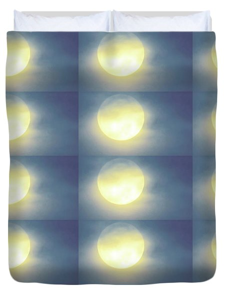 Duvet Cover featuring the photograph Leo Blue Super Moon by Judy Kennedy