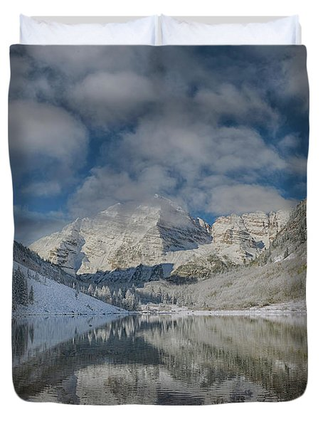 Duvet Cover featuring the photograph Maroon Bells Reflection In The Maroon Lake With Fresh Snow Aspen Colorado Usa. by OLena Art Brand