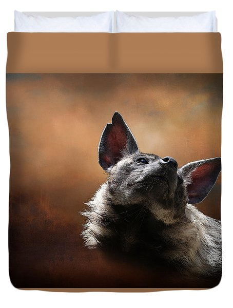 Duvet Cover featuring the photograph Scenting The Air - Striped Hyena by Debi Dalio