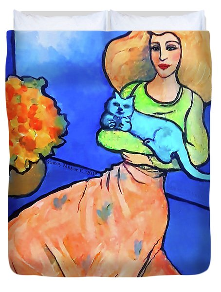 Lady With Blue Cat Duvet Cover